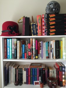 Bookcase with skull